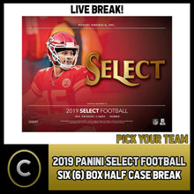 Load image into Gallery viewer, 2019 PANINI SELECT FOOTBALL 6 BOX (HALF CASE) BREAK #F451 - PICK YOUR TEAM