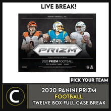 Load image into Gallery viewer, 2020 PANINI PRIZM FOOTBALL 12 BOX (FULL CASE) BREAK #F609 - PICK YOUR TEAM