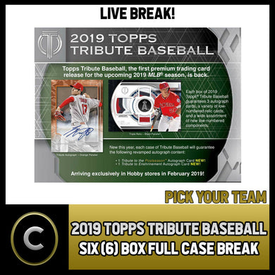 2019 TOPPS TRIBUTE BASEBALL - 6 BOX (FULL CASE) BREAK #A396 - PICK YOUR TEAM