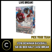 Load image into Gallery viewer, 2018 BOWMAN BASEBALL 6 BOX (HALF CASE) BREAK #A144 - PICK YOUR TEAM