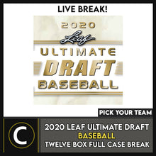 Load image into Gallery viewer, 2020 LEAF ULTIMATE DRAFT BASEBALL 12 BOX FULL CASE BREAK #A1007 - PICK YOUR TEAM