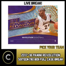Load image into Gallery viewer, 2017-18 PANINI REVOLUTION 16 BOX (MASTER CASE) BREAK #B221 - PICK YOUR TEAM -
