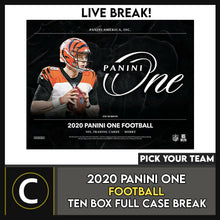 Load image into Gallery viewer, 2020 PANINI ONE FOOTBALL 10 BOX (FULL CASE) BREAK #F678 - PICK YOUR TEAM