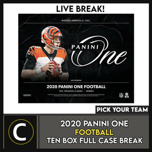 2020 PANINI ONE FOOTBALL 10 BOX (FULL CASE) BREAK #F678 - PICK YOUR TEAM