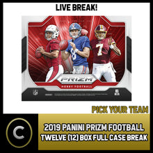 Load image into Gallery viewer, 2019 PANINI PRIZM FOOTBALL 12 BOX (FULL CASE) BREAK #F362 - PICK YOUR TEAM