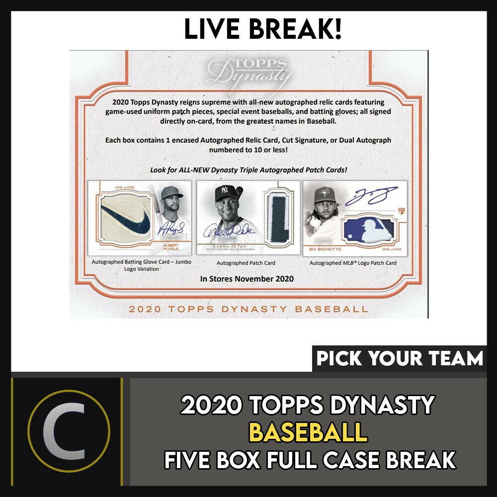2020 TOPPS DYNASTY BASEBALL 5 BOX (FULL CASE) BREAK #A1034 - PICK YOUR TEAM