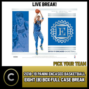 2018-19 PANINI ENCASED BASKETBALL 8 BOX (CASE) BREAK #B195 - PICK YOUR TEAM -