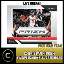 Load image into Gallery viewer, 2018-19 PANINI PRIZM BASKETBALL 12 BOX FULL CASE BREAK #B461 - PICK YOUR TEAM -