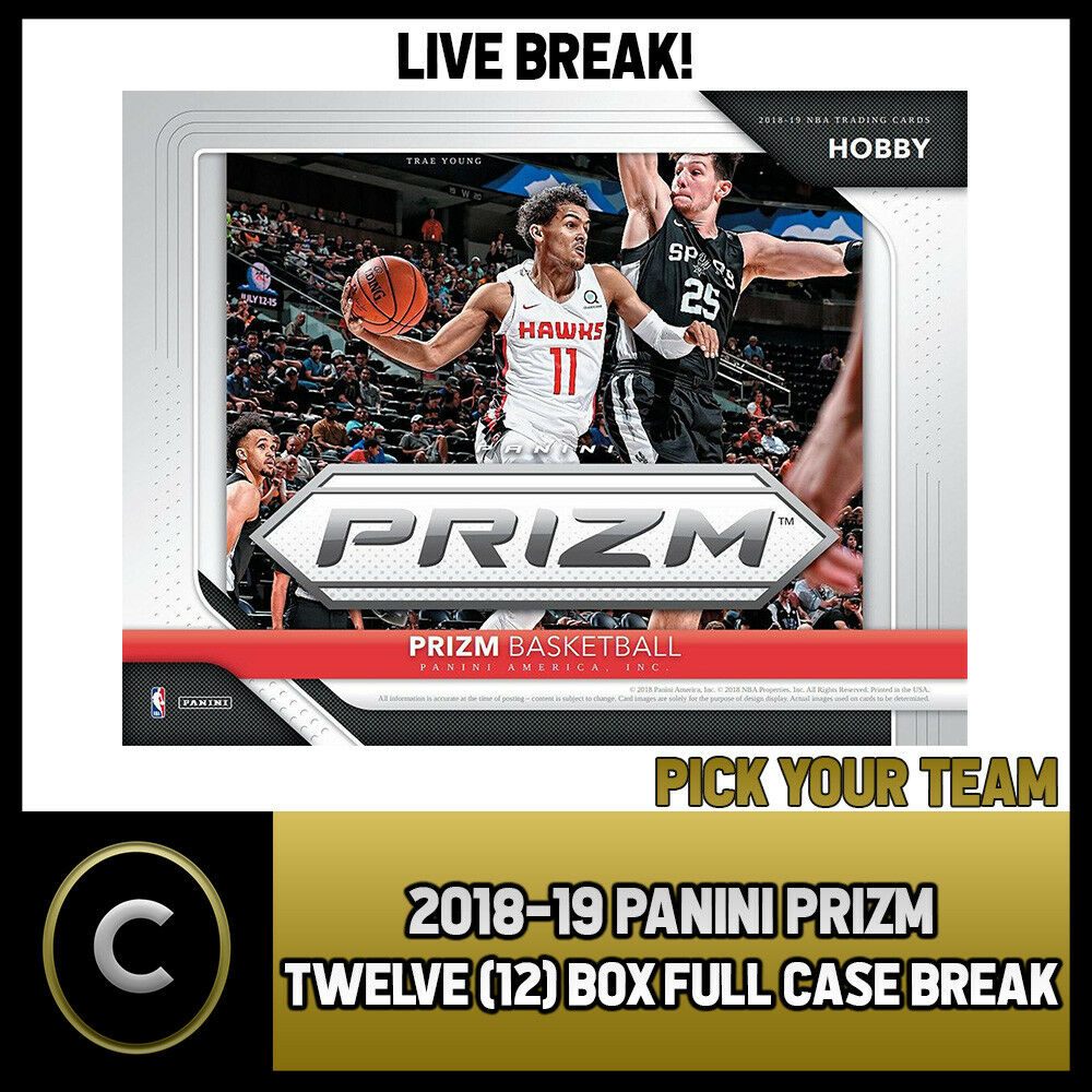 2018-19 PANINI PRIZM BASKETBALL 12 BOX FULL CASE BREAK #B461 - PICK YOUR TEAM -