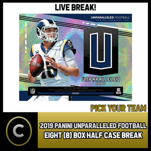2019 PANINI UNPARALLELED FOOTBALL 8 BOX CASE BREAK #F250 - PICK YOUR TEAM