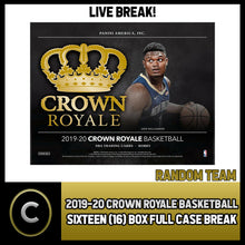 Load image into Gallery viewer, 2019-20 PANINI CROWN ROYALE 16 BOX (FULL CASE) BREAK #B309 - RANDOM TEAMS