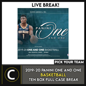 2019-20 PANINI ONE AND ONE  BASKETBALL 10 BOX CASE BREAK #B547 - PICK YOUR TEAM