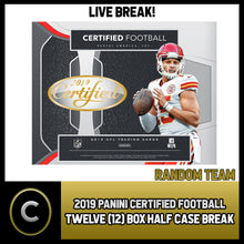 Load image into Gallery viewer, 2019 PANINI CERTIFIED FOOTBALL 12 BOX (INNER CASE) BREAK #F238 - RANDOM TEAMS