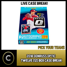 Load image into Gallery viewer, 2018 DONRUSS OPTICAL BASEBALL 12 BOX FULL CASE BREAK #A058 - PICK YOUR TEAM