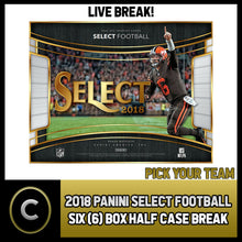 Load image into Gallery viewer, 2018 PANINI SELECT FOOTBALL 6 BOX (HALF CASE) BREAK #F123 - PICK YOUR TEAM