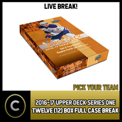 2016-17 UPPER DECK SERIES 1 - 12 BOX HALF CASE BREAK #H1055 - PICK YOUR TEAM -
