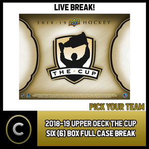 2018-19 UPPER DECK THE CUP 6 BOX (FULL CASE) BREAK #H528 - PICK YOUR TEAM -