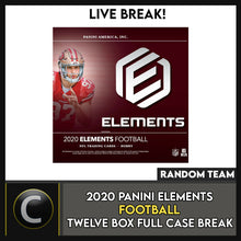 Load image into Gallery viewer, 2020 PANINI ELEMENTS FOOTBALL 12 BOX (FULL CASE) BREAK #F514 - RANDOM TEAMS