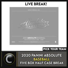 Load image into Gallery viewer, 2020 PANINI ABSOLUTE BASEBALL 5 BOX (HALF CASE) BREAK #A877 - PICK YOUR TEAM