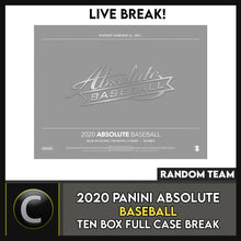 Load image into Gallery viewer, 2020 PANINI ABSOLUTE BASEBALL 10 BOX (FULL CASE) BREAK #A878 - RANDOM TEAMS