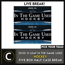 Load image into Gallery viewer, 2020-21 LEAF IN THE GAME USED HOCKEY 5 BOX BREAK #H1063 - PICK YOUR TEAM