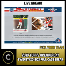 Load image into Gallery viewer, 2019 TOPPS OPENING DAY BASEBALL 20 BOX (FULL CASE) BREAK #A309 - PICK YOUR TEAM