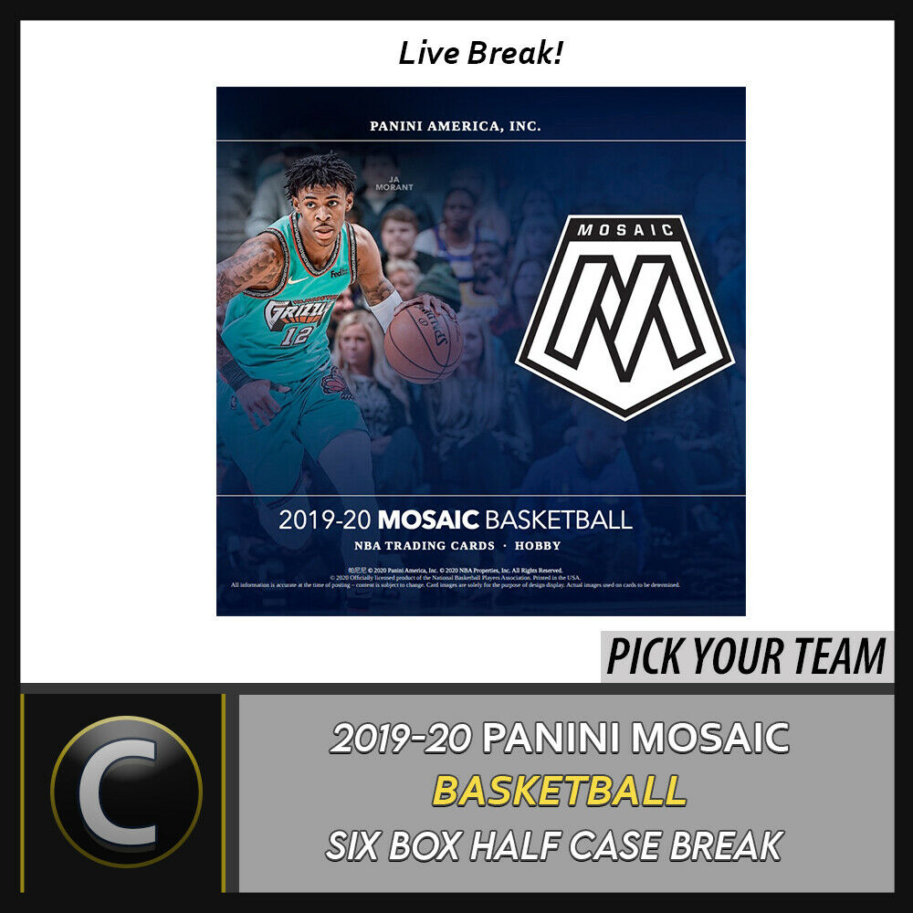 2019-20 PANINI MOSAIC BASKETBALL 6 BOX (HALF CASE) BREAK #B428 - PICK YOUR TEAM