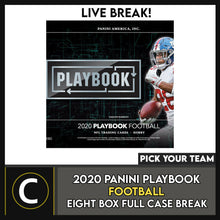 Load image into Gallery viewer, 2020 PANINI PLAYBOOK FOOTBALL 8 BOX (FULL CASE) BREAK #F634 - PICK YOUR TEAM