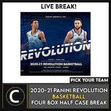Load image into Gallery viewer, 2020-21 PANINI REVOLUTIONS BASKETBALL 4 BOX BREAK #B581 - PICK YOUR TEAM