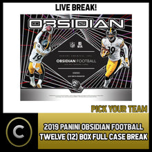 Load image into Gallery viewer, 2019 PANINI OBSIDIAN FOOTBALL 12 BOX (FULL CASE) BREAK #F577 - PICK YOUR TEAM