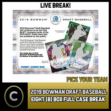 2019 BOWMAN DRAFT BASEBALL 8 BOX (FULL CASE) BREAK #A659 - PICK YOUR TEAM