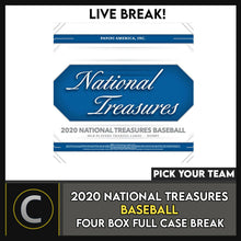 Load image into Gallery viewer, 2020 NATIONAL TREASURES BASEBALL 4 BOX (FULL CASE) BREAK #A998 - PICK YOUR TEAM