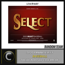 Load image into Gallery viewer, 2020 PANINI SELECT BASEBALL 12 BOX (FULL CASE) BREAK #A814 - RANDOM TEAMS