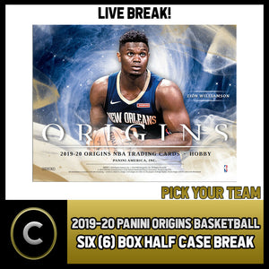 2019-20 PANINI ORIGINS BASKETBALL 6 BOX (HALF CASE) BREAK #B322 - PICK YOUR TEAM