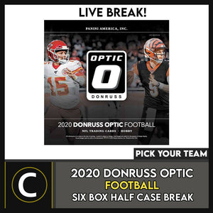 2020 PANINI DONRUSS OPTIC FOOTBALL 6 BOX HALF CASE BREAK #F622 - PICK YOUR TEAM