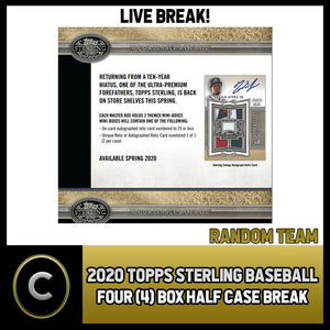 2020 TOPPS STERLING BASEBALL 4 BOX (HALF CASE) BREAK #A889 - RANDOM TEAMS