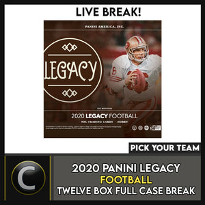 2020 PANINI LEGACY FOOTBALL 12 BOX (FULL CASE) BREAK #F563 - PICK YOUR TEAM