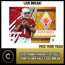 Load image into Gallery viewer, 2019 PANINI PHOENIX FOOTBALL 4 BOX (HALF CASE) BREAK #F476 - PICK YOUR TEAM