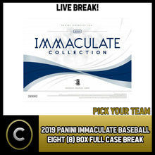Load image into Gallery viewer, 2019 PANINI IMMACULATE BASEBALL 8 BOX (FULL CASE) BREAK #A421 - PICK YOUR TEAM
