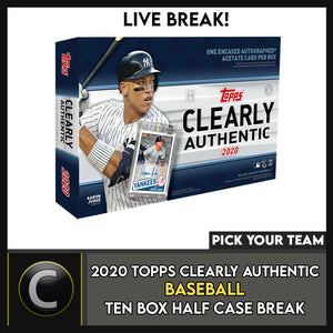 2020 TOPPS CLEARLY AUTHENTIC 10 BOX HALF CASE BREAK #A847 - PICK YOUR TEAM