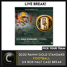 Load image into Gallery viewer, 2020 PANINI GOLD STANDARD FOOTBALL 6 BOX HALF CASE BREAK #F507 - PICK YOUR TEAM