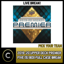 Load image into Gallery viewer, 2019-20 UPPER DECK PREMIER HOCKEY 5 BOX (FULL CASE) BREAK #H997 - PICK YOUR TEAM