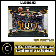 Load image into Gallery viewer, 2018-19 PANINI SELECT BASKETBALL 6 BOX (HALF CASE) BREAK #B164 - PICK YOUR TEAM
