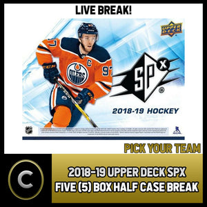 2018-19 UPPER DECK SPX HOCKEY - 5 BOX ( 1/2 CASE) BREAK #H487 - PICK YOUR TEAM -
