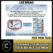 Load image into Gallery viewer, 2019 BOWMAN STERLING BASEBALL 6 BOX (HALF CASE) BREAK #A342 - PICK YOUR TEAM
