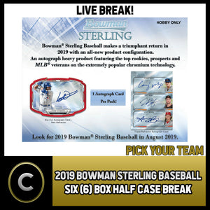 2019 BOWMAN STERLING BASEBALL 6 BOX (HALF CASE) BREAK #A342 - PICK YOUR TEAM