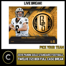 Load image into Gallery viewer, 2019 PANINI GOLD STANDARD FOOTBALL 12 BOX FULL CASE BREAK #F505 - PICK YOUR TEAM