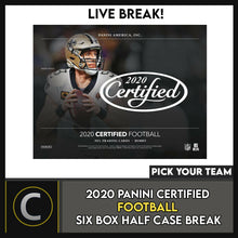 Load image into Gallery viewer, 2020 PANINI CERTIFIED FOOTBALL 6 BOX (HALF CASE) BREAK #F519 - PICK YOUR TEAM