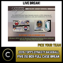 Load image into Gallery viewer, 2019 TOPPS DYNASTY BASEBALL 5 BOX (FULL CASE) BREAK #A611 - PICK YOUR TEAM