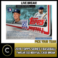 Load image into Gallery viewer, 2019 TOPPS SERIES 1 BASEBALL - 12 BOX (FULL CASE) BREAK #A091 - PICK YOUR TEAM